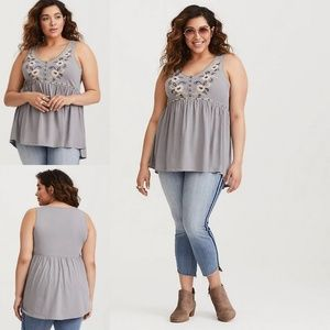 Torrid Grey Embroidered Babydoll Tank